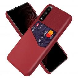 """""""KSQ"""" Shell dėklas su kišenėle - raudonas (Xperia 1 III)"""