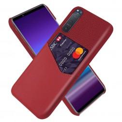 """""""KSQ"""" Shell dėklas su kišenėle - raudonas (Xperia 5 II)"""