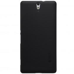 """""""Nillkin"""" Frosted Shield dėklas - juodas + apsauginė ekrano plėvelė (Xperia C5 Ultra)"""
