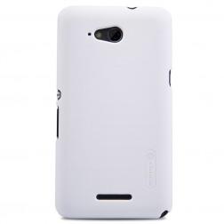 """""""Nillkin"""" Frosted Shield dėklas - baltas + apsauginė ekrano plėvelė (Xperia E4g)"""