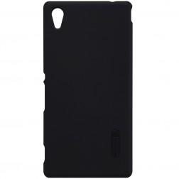 """""""Nillkin"""" Frosted Shield dėklas - juodas + apsauginė ekrano plėvelė (Xperia M4 Aqua)"""