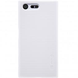 """""""Nillkin"""" Frosted Shield dėklas - baltas + apsauginė ekrano plėvelė (Xperia X Compact)"""