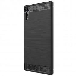 """""""Carbon"""" kieto silikono (TPU) dėklas - juodas (Xperia XZ / XZs)"""
