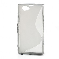 Kieto silikono (TPU) dėklas - skaidrus, pilkas (Xperia Z1 compact)