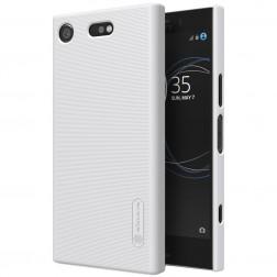 """""""Nillkin"""" Frosted Shield dėklas - baltas + apsauginė ekrano plėvelė (Xperia XZ1 Compact)"""