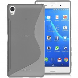 Kieto silikono (TPU) dėklas - skaidrus, pilkas (Xperia Z5 Premium)