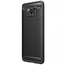 """""""Carbon"""" kieto silikono (TPU) dėklas - juodas (Poco X3)"""