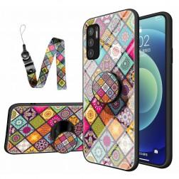 """""""Pattern"""" kieto silikono (TPU) dėklas - spalvotas + raištelis telefonui + laikiklis (Poco M3 Pro / Redmi Note 10 5G)"""