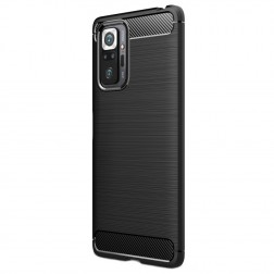 """""""Carbon"""" kieto silikono (TPU) dėklas - juodas (Redmi Note 10 Pro)"""
