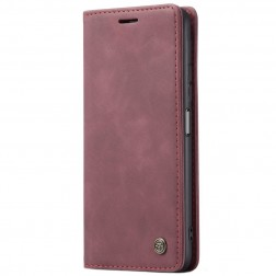 """CaseMe"" Retro solidus atverčiamas dėklas - bordo (Redmi Note 10 Pro)"