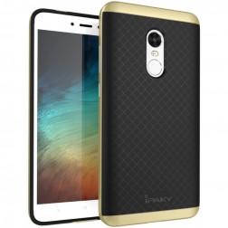 """""""IPAKY"""" kieto silikono (TPU) dėklas - juodas / auksinis (Redmi Note 4X)"""