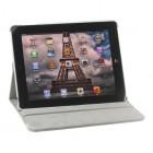 Apple iPad 2, 3, 4 atverčiamas, sukiojamas 360 laipsnių, baltas odinis dėklas - stovas