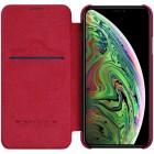 """Prabangus """"Nillkin"""" Qin serijos raudonas odinis atverčiamas Apple iPhone 11 dėklas"""
