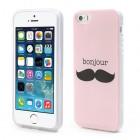 Rožinis Bonjour Moustache silikoninis (TPU) Apple iPhone SE (5, 5s) dėklas (dėkliukas)