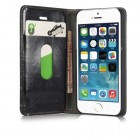 """Apple iPhone SE (5, 5s) """"CaseMe"""" solidus atverčiamas juodas odinis dėklas - knygutė"""