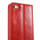 """Apple iPhone SE (5, 5s) """"CaseMe"""" solidus atverčiamas raudonas odinis dėklas - knygutė"""