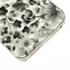 Juodas, vasariškas plastikinis Apple iPhone SE (5, 5s) dėklas išmargintas gėlėmis
