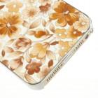 Oranžinis, vasariškas plastikinis Apple iPhone SE (5, 5s) dėklas išmargintas gėlėmis