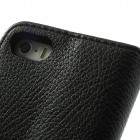 """""""Lychee"""" atverčiamas dirbtinės odos juodas Apple iPhone SE (5, 5s) dėklas (dėkliukas)"""