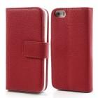 """""""Lychee"""" atverčiamas dirbtinės odos raudonas Apple iPhone SE (5, 5s) dėklas (dėkliukas)"""