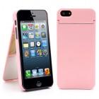 """Rožinis """"ONE%+"""" plastikinis Apple iPhone SE (5, 5s) dėklas (dėkliukas) su integruotu veidrodžiu"""