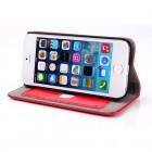 Apple iPhone SE (5, 5s) solidus atverčiamas raudonas odinis dėklas - knygutė