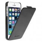 Apple iPhone SE (5, 5s) vertikaliai (žemyn, į apačią) atverčiamas klasikinis juodas dėklas