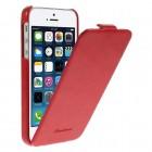 Apple iPhone SE (5, 5s) vertikaliai (žemyn, į apačią) atverčiamas klasikinis raudonas dėklas