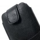 Apple iPhone 6 Plus universali juoda odinė įmautė su vieta kortelėms susidėti ir segama prie diržo (XL+ dydis)