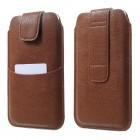 Apple iPhone 6 Plus universali ruda odinė įmautė su vieta kortelėms susidėti ir segama prie diržo (XL+ dydis)