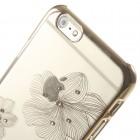 Apple iPhone 6 (6s) X-Fitted Crystal Icon Pro Lotus Swarovski plastikinis skaidrus permatomas auksinis dėklas su kristalais