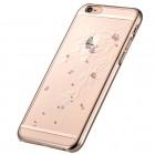 Apple iPhone 6 (6s) Devia Crystal Flowery Swarovski plastikinis skaidrus permatomas auksinis dėklas su kristalais