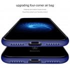 """Apple iPhone X (iPhone Xs) """"Baseus"""" Armor Case TPU silikoninis skaidrus permatomas dėklas su mėlynu rėmeliu"""