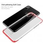 """Apple iPhone X (iPhone Xs) """"Baseus"""" Armor Case TPU silikoninis skaidrus permatomas dėklas su raudonu rėmeliu"""
