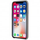 Soft Slim serijos Apple iPhone X (iPhone Xs) pilkas odinis dėklas - nugarėlė