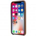 Soft Slim serijos Apple iPhone X (iPhone Xs) rudas odinis dėklas - nugarėlė