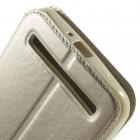 Roar Noble atverčiamas Asus Zenfone 2 Laser (ZE600KL, ZE601KL) auksinis odinis dėklas