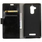 Asus Zenfone 3 Max (ZC520TL) atverčiamas juodas odinis dėklas - piniginė