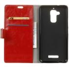 Asus Zenfone 3 Max (ZC520TL) atverčiamas raudonas odinis dėklas - piniginė