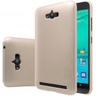 Asus Zenfone Max (ZC550KL) Nillkin Frosted Shield auksinis plastikinis dėklas + apsauginė ekrano plėvelė