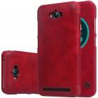"""Prabangus """"Nillkin"""" Qin serijos raudonas odinis atverčiamas Asus Zenfone Max (ZC550KL) dėklas - knygutė"""