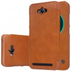 """Prabangus """"Nillkin"""" Qin serijos rudas odinis atverčiamas Asus Zenfone Max (ZC550KL) dėklas - knygutė"""