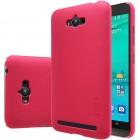 Asus Zenfone Max (ZC550KL) Nillkin Frosted Shield raudonas plastikinis dėklas + apsauginė ekrano plėvelė