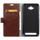 Asus Zenfone Max (ZC550KL) atverčiamas rudas odinis dėklas - piniginė
