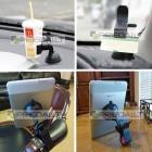 Juodas laikiklis telefonui automobilyje