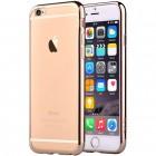 """Apple iPhone 6 Plus (6s Plus) """"Devia"""" Glitter Case TPU silikoninis skaidrus permatomas itin plonas dėklas su auksiniu rėmeliu ir apsauginis ekrano stiklas"""