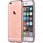"""Apple iPhone 6 Plus (6s Plus) """"Devia"""" Glitter Case TPU silikoninis skaidrus permatomas itin plonas dėklas su rožiniu rėmeliu ir apsauginis ekrano stiklas"""