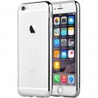 """Apple iPhone 6 Plus (6s Plus) """"Devia"""" Glitter Case TPU silikoninis skaidrus permatomas itin plonas dėklas su sidabriniu rėmeliu ir apsauginis ekrano stiklas"""
