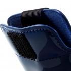 Mėlynas odinė universali Glossy įmautė (XL+ dydis) su kišenėle kortelėms