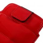 Raudona odinė universali Glossy įmautė (XL+ dydis) su kišenėle kortelėms